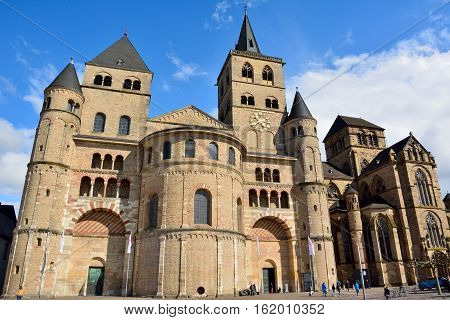 Trier, Germany - April 26, 2016. Trierer Dom cathedral in Trier with people