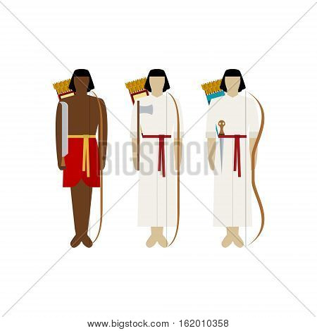 Egyptian soldiers with guns. The illustration on a white background.