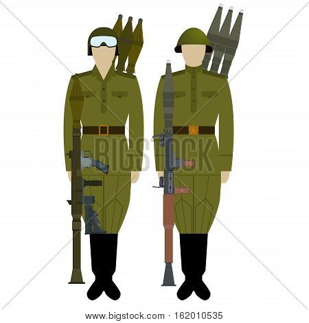 Soviet grenade throwers with an RPG-7. The illustration on a white background.
