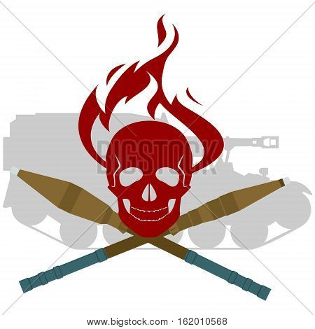 Human skull with fire and anti-tank grenades RPG on the background of armored vehicles. The illustration on a white background.
