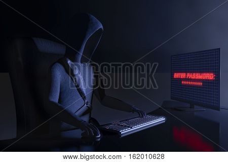 A hacker at work for example data claw(3d rendering)