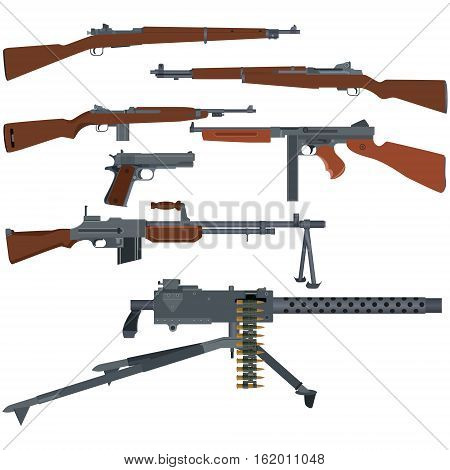 Small arms are the US armed forces of World War II. The illustration on a white background.