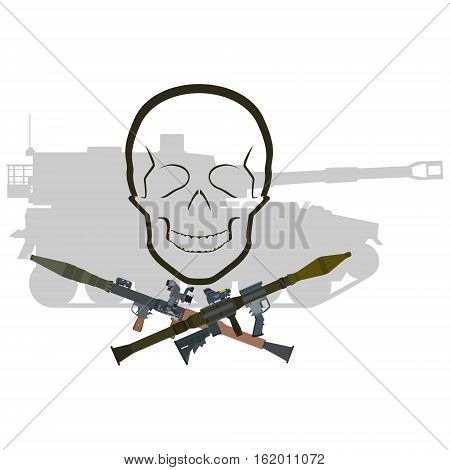 Human skull and antitank grenade RPG on the background of armored vehicles. The illustration on a white background.