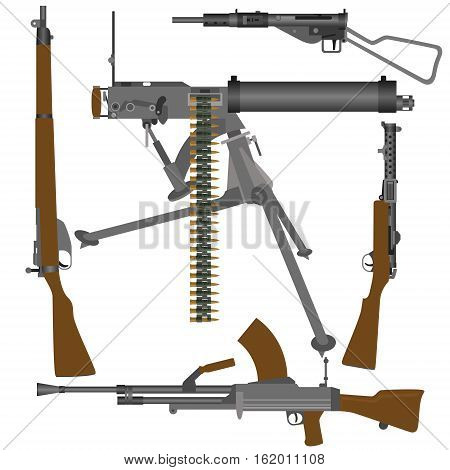 Small arms of the armed forces of Great Britain in World War II. The illustration on a white background.