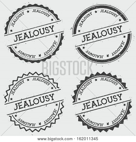 Jealousy Insignia Stamp Isolated On White Background. Grunge Round Hipster Seal With Text, Ink Textu