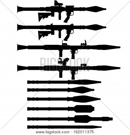 The contour of the Soviet and Russian grenade launchers and grenades for RPG-7. The illustration on a white background.