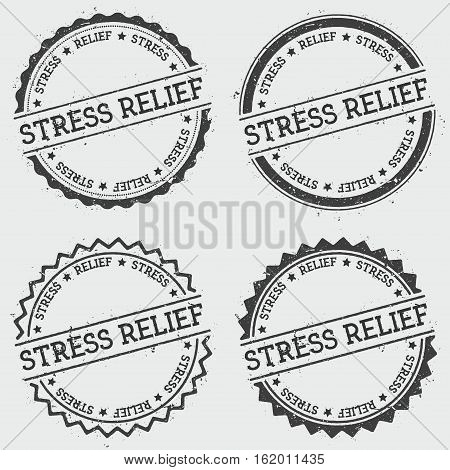 Stress Relief Insignia Stamp Isolated On White Background. Grunge Round Hipster Seal With Text, Ink
