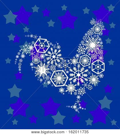 Christmas card with white filigree rooster on a blue background with stars