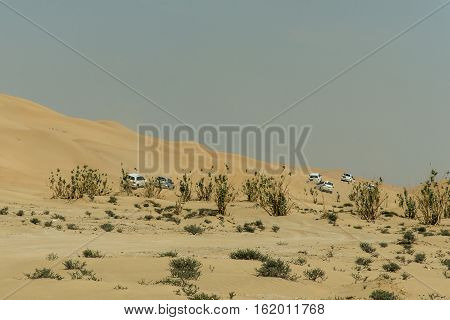 Jeeps traditional Safari Dune Bashing with tourists Oman Ubar in Desert Rub al Khali 8
