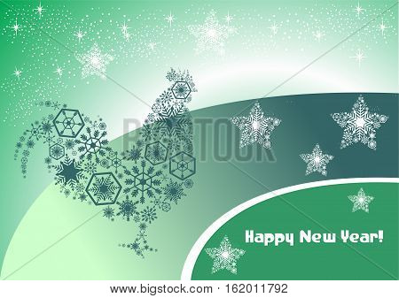 Mysterious Christmas card with a on a green background. Oriental flavor.