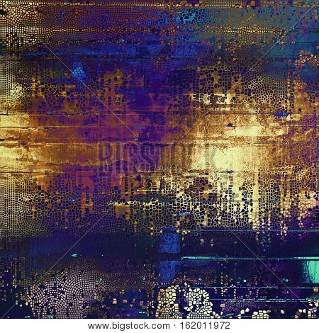 Weathered grunge elements on vintage texture for your design. Aged background with different color patterns: yellow (beige); brown; blue; purple (violet); black; cyan