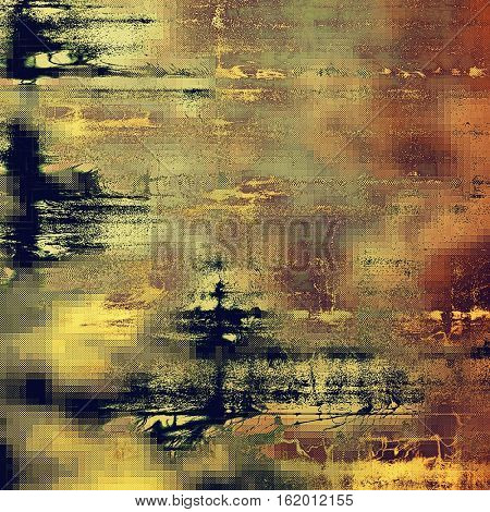 Vintage mottled frame, textured grunge background with different color patterns: yellow (beige); brown; gray; red (orange); purple (violet); black