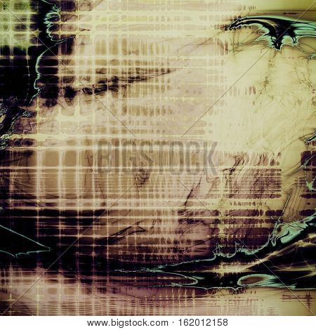 Grunge retro texture, aged background with vintage style elements and different color patterns: yellow (beige); brown; blue; gray; purple (violet); black