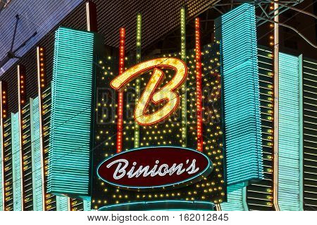 Las Vegas - Circa December 2016: Binion's Gambling Hall and Hotel Neon Signage. Binion's is a casino on Fremont Street I