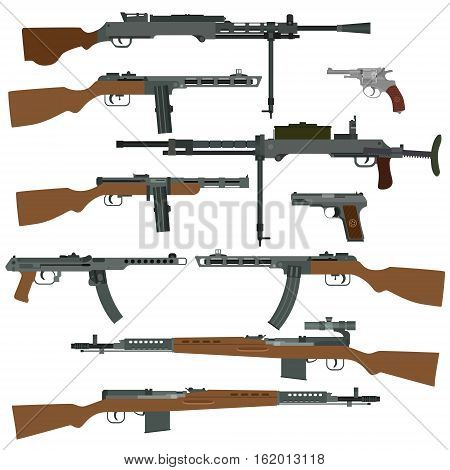 Small arms of the armed forces of the USSR during the Second World War. The illustration on a white background.