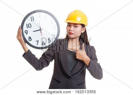 Asian Engineer Woman In Bad Mood With A Clock.