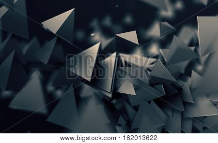 Abstract 3d rendering of chaotic low poly shapes. Flying polygonal pyramids in empty space. Futuristic background with bokeh effect. Poster design.