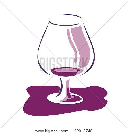 Illustration of glass wine background with spots. Vector illustration, isolated on white background.