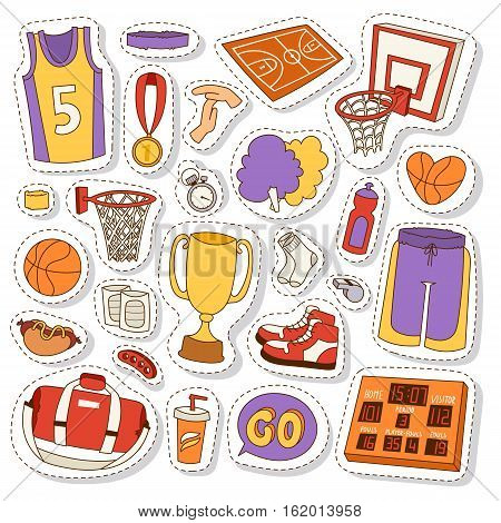 Basketball stickers icons labels set vector. Sport league graphic game competition basketball stickers icons. Championship winner streetball equipment emblem.