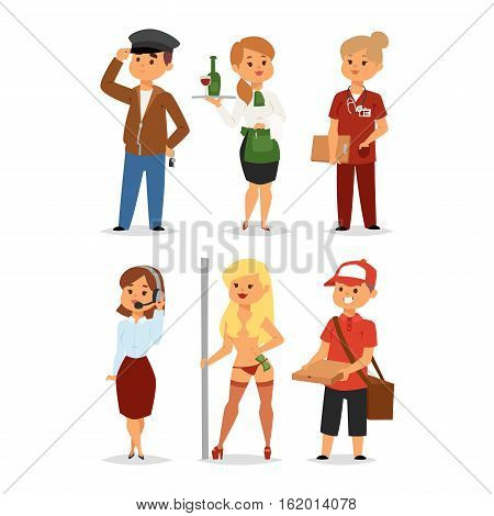 People professions recruitment job concept unemployed. Different people professions or time unemployed. Business career search workers opportunity looking vector human characters.