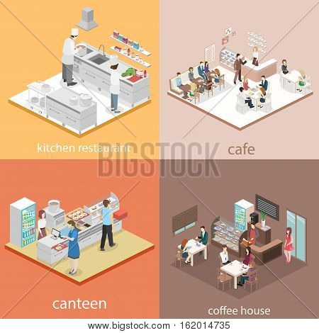 Isometric Flat 3D Concept Vector Interior Cafe, Canteen, Restaurant Kitchen.