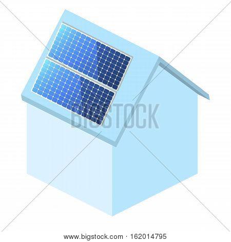 Isometric Flat 3D Vector Outside Solar Panels On House