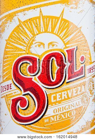 LONDON UK - DECEMBER 15 2016: Bottle of Sol Mexican Beer close up label. From the Cuauhtemoc Moctezuma Brewery in Monterey Mexico it was first introduced in the 1890's as El Sol.