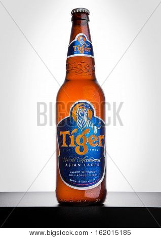 LONDON UK DECEMBER 15 2016: Bottle of Tiger Beer on white background First launched in 1932 is Singapore's first brewed beer.