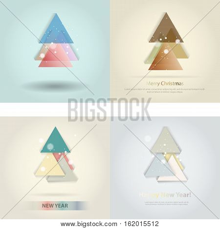 Abstract christmas tree icon or logo concept. Silhouette of evergreen tree build with colorful abstract triangles with added text and snowflakes.