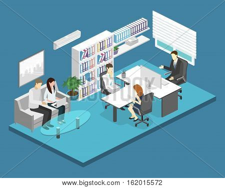 Isometric Interior Of Director's Office.