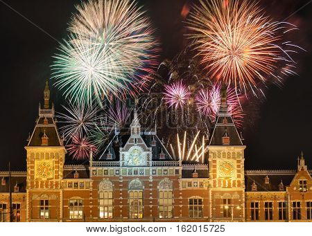 Fireworks Above The Amsterdam Centraal