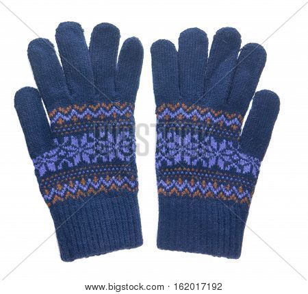 Knitted Gloves. Gloves Isolated On White Background. Gloves A Top View.blue Gloves .