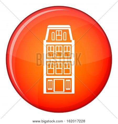 Dutch houses icon in red circle isolated on white background vector illustration