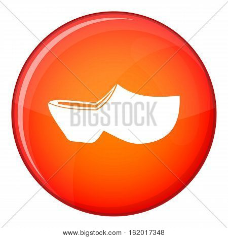 Clogs icon in red circle isolated on white background vector illustration