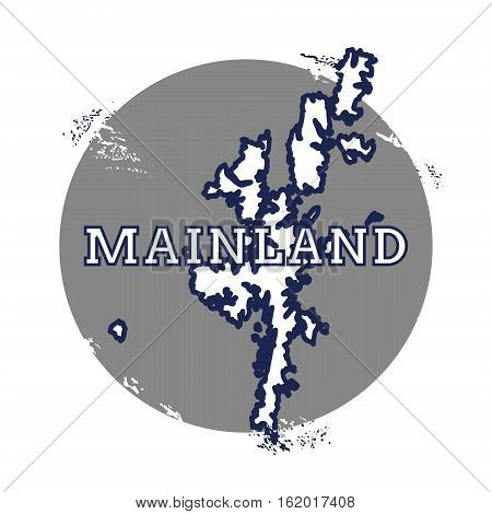 Mainland Vector Map. Grunge Rubber Stamp With The Name And Map Of Island, Vector Illustration. Can B