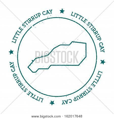 Little Stirrup Cay Vector Map. Distressed Travel Stamp With Text Wrapped Around A Circle And Stars.