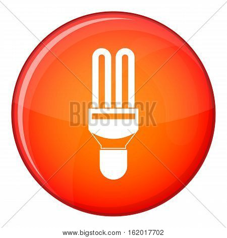 Fluorescence lamp icon in red circle isolated on white background vector illustration