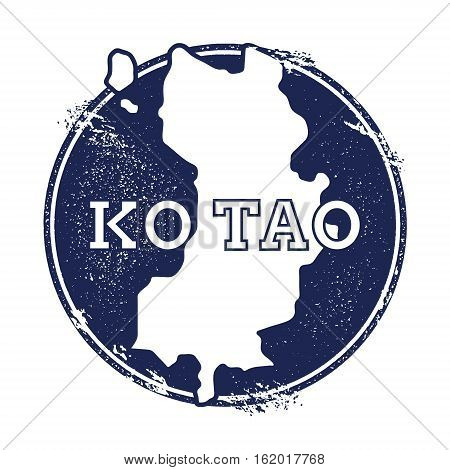 Ko Tao Vector Map. Grunge Rubber Stamp With The Name And Map Of Island, Vector Illustration. Can Be