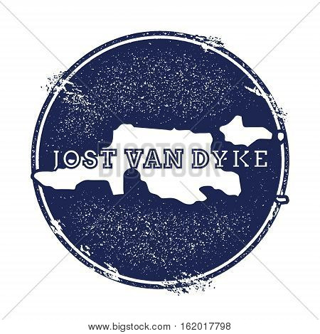 Jost Van Dyke Vector Map. Grunge Rubber Stamp With The Name And Map Of Island, Vector Illustration.