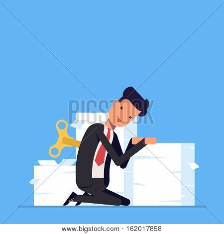 Tired businessman or manager sits near a large pile of documents. The lack energy to do work. It takes charge man. Vector, illustration EPS10