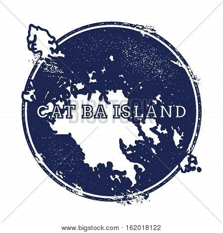 Cat Ba Island Vector Map. Grunge Rubber Stamp With The Name And Map Of Island, Vector Illustration.