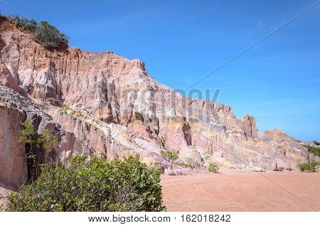 Canyon Cliffs With Many Rocks Sedimented By Time, Rocks With Red And Yellow Colors. Cliffs Of Coquei
