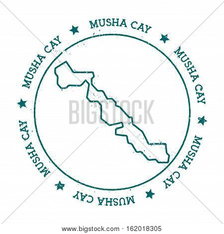 Musha Cay Vector Map. Distressed Travel Stamp With Text Wrapped Around A Circle And Stars. Island St
