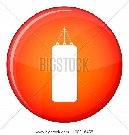 Punching bag for boxing icon in red circle isolated on white background vector illustration