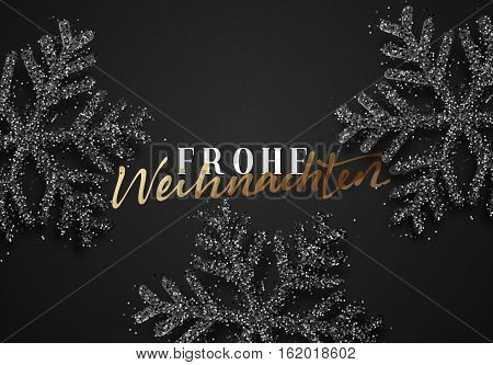 Merry Christmas. German inscription. Frohe Weihnachten. Christmas background, with beautiful bright snowflakes realistic shine glitter. Xmas holiday poster, greeting card.