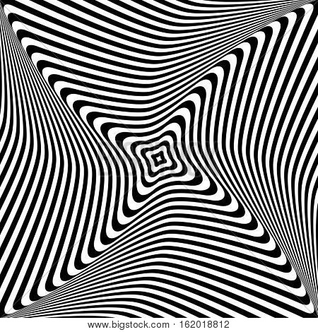 Abstract op art design. Rotation and torsion movement. Vector illustration.