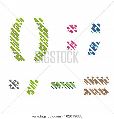 Striped latin alphabet. Letter punctuation marks brackets hooks from lines hatching dotted decorative font