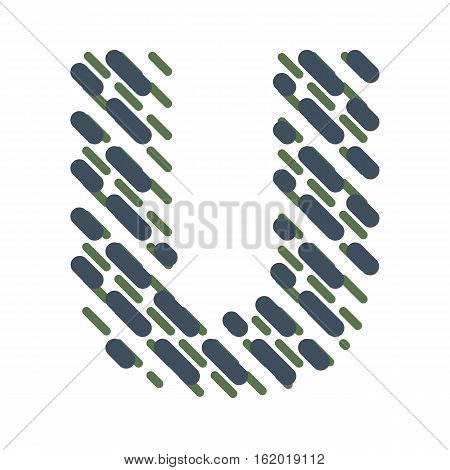 Striped latin alphabet. Letter U from lines hatching dotted decorative font