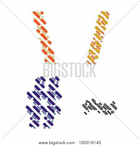 Striped latin alphabet. Letter punctuation marks slash tilde number from lines hatching dotted decorative font