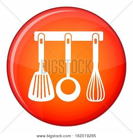 Spatula, ladle and whisk, kitchen tools on a hanger icon in red circle isolated on white background vector illustration